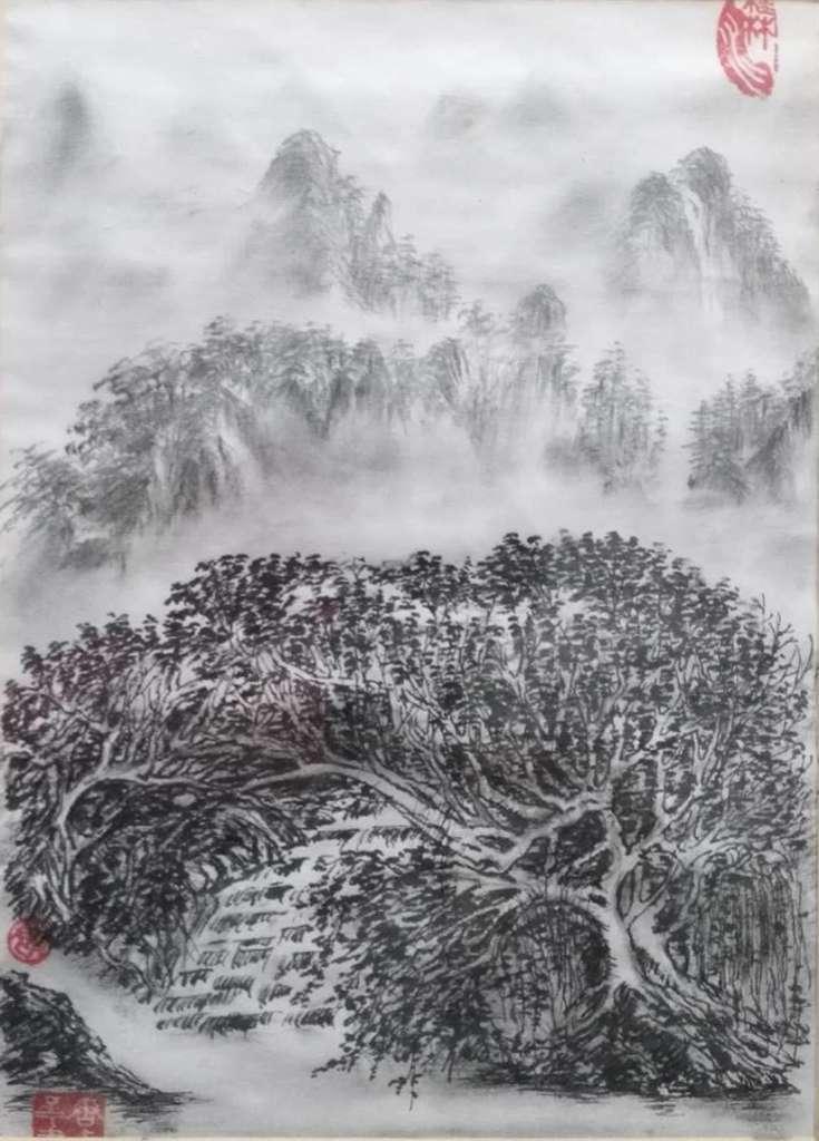 勇于创新,吸桂林山水之灵气,取桂林山水之精华,用竹子做笔绘画,创新了